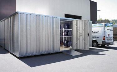Reifenconainer inkl. Reifenregale geliefert und montiert für Autohaus Wigger